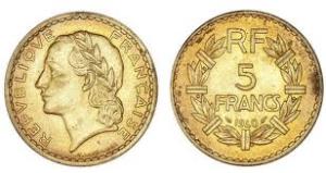 Pièce de 5 Francs Lavrillier en bronze et en aluminium de 1940